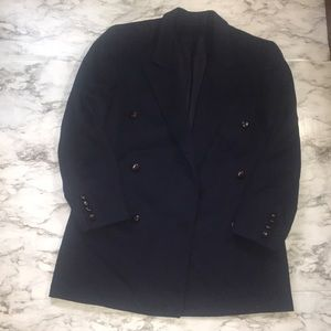 Vintage Navy Blue Burberry Wool Blazer Size 4